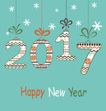New Year  2017 greeting  card. New Year 2016 decoration in bright colors Royalty Free Stock Images