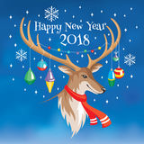 2018 New Year greeting card with deer Stock Photography