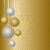 New Year greeting card design with christmas balls hanging on ribbon. Collection of Baubles with ornaments. Vector illustration, golden and silver background stock illustration