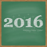 New year 2016 greeting card design. Happy new year 2016 on a chalkboard background for your greeting card design Stock Photos