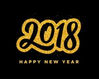 New Year 2018 greeting card design. Happy New Year 2018 greeting card design with golden calligraphic text on black background. Vector festive illustration with Stock Photo