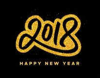 New Year 2018 greeting card design. Happy New Year 2018 greeting card design with golden calligraphic text on black background. Vector festive illustration with Stock Image