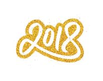 New Year 2018 greeting card design. Happy New Year 2018 greeting card design with golden calligraphic text isolated on white background. Vector festive Royalty Free Stock Photography