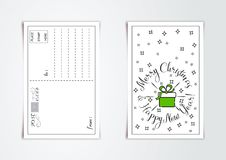 New Year greeting card design with line art stylized christmas gift and snowflakes. Vector illustration. New Year greeting card design with line art stylized vector illustration