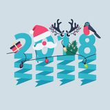 2018 New Year greeting card. Design with party streamers hanging from blue numerals decorated with Christmas lights, a gift, robin, tree and antlers Stock Image