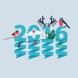 2016 New Year greeting card design. With party streamers hanging from blue numerals decorated with Christmas lights, a gift, robin, tree and antlers royalty free illustration
