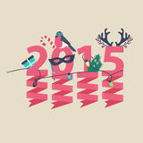 2015 New Year greeting card design. With party streamers hanging from pink numerals decorated with Christmas lights, a gift, robin, tree and antlers Vector Illustration
