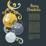New Year greeting card design with stylized christmas ball . Vector illustration Royalty Free Stock Photo
