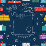 New Year greeting card. Different color gift boxes Royalty Free Stock Photography