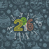 New year greeting card. Doodle elements Royalty Free Stock Photo