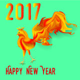 New Year greeting card with fire rooster. Green card with text happy new year 2017 Stock Images