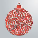 New Year greeting card in the form of patterned ball with inscription on a light background. Stock Photography