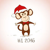 New Year Greeting Card With Funny Monkey. New Year and Christmas greeting card with funny sketching monkey. Symbol of the New Year 2016 royalty free illustration