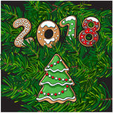 2018 New Year greeting card, gingerbread cookie Royalty Free Stock Photo