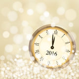 2016 New Year greeting card with glittering golden background and vintage clock Royalty Free Stock Photography