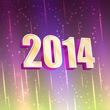 New Year greeting card with glowing light Stock Image