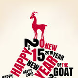 New year greeting card with goat. Vector illustration Royalty Free Stock Images