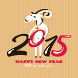 New year greeting card with goat. Vector illustration Stock Photography