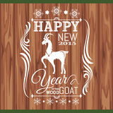 New year greeting card with goat. Vector illustration Royalty Free Stock Photo