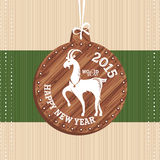 New year greeting card with goat. Vector illustration stock illustration