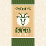 New year greeting card with goat. Vector illustration Stock Photo