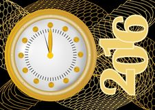 New year 2016 greeting card with gold clock in gold net, clock showing midnight. Stock Image