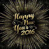New Year 2016 greeting card gold firework Stock Image