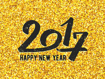 New Year 2017 greeting card with gold glittering Stock Images