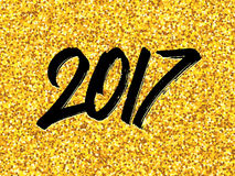 New Year 2017 greeting card with gold glittering Stock Image