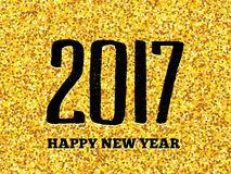 New Year 2017 greeting card with gold glittering. Happy New Year of the Rooster greeting card design template with gold glittering texture and black hand Stock Photography