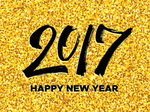 New Year 2017 greeting card with gold glittering Royalty Free Stock Photos