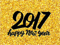 New Year 2017 greeting card with gold glittering. Happy New Year 2017 vector background with typography and golden glitters on backdrop. Greeting card template Royalty Free Stock Image