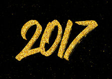 New Year 2017 greeting card with gold glittering Royalty Free Stock Photography