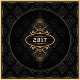 New Year 2017 greeting card with gold ornaments. Vector. New Year 2017 greeting card in gold and black color with ornaments. Vector Illustration Royalty Free Stock Image