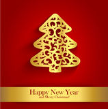 New Year greeting card with gold silhouette of Christmas tree Stock Photos