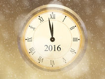 2016 New Year greeting card with golden background, vintage clock and falling snow Stock Image