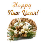 New year greeting card. Golden Christmas wreath isolated on white background. Selective focus. Royalty Free Stock Photo