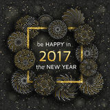New Year greeting card with golden fireworks. Vector illustration royalty free illustration