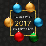 New Year greeting card with golden fireworks. Vector illustration Stock Photos