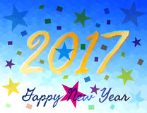 New Year Greeting Card for 2017, Vector Illustration. Golden Hand Written Script Word of  2017 in front of Geometrical Background. Decorated with Stars and Chips Royalty Free Stock Images