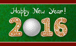 New Year 2016 greeting card. Golf ball on grass with numbers of gingerbread cookies of new year 2016. Greeting card with grass background Stock Photography