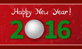 New Year 2016 greeting card. Golf ball on grass with numbers of new year 2016. Greeting card with golf course plan background Royalty Free Stock Photography