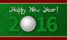 New Year 2016 greeting card. Golf ball on grass with numbers of new year 2016. Greeting card with grass background Royalty Free Stock Photo