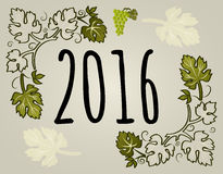 New year greeting card with grape vines in vector, 2016. New year 2016 greeting card with grape vines in vector Stock Photos
