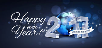 2017 New year greeting card. Greetings and 2017 New Year type composed with a blue planet earth, glittering on black background - 3D illustration royalty free illustration