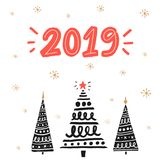2019 new year greeting card with hand drawn Christmas trees. Red handwritten number. 2019 new year greeting card with hand drawn Christmas trees. Red Stock Images