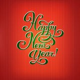 New Year. Greeting card. Hand made lettering on shiny background Stock Image