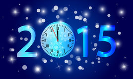 2015 New Year greeting card. 2015 Happy New Year background or card with clock and numbers Stock Image