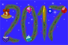 New 2017 Year. Greeting Card Happy New Year 2017, numbers of conifer twigs, decorated with Christmas toys, against the background of starry sky, vector Stock Photo