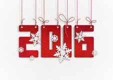 New Year greeting card. 2016 Happy New Year greeting card with paper snowflakes on white background Stock Images